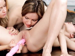 Lesbians And A Pink Toy Have A Sexy Threesome