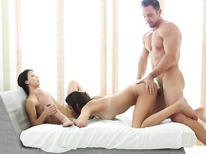 Latina Eats Pussy With A Cock Fucking Her From Behind
