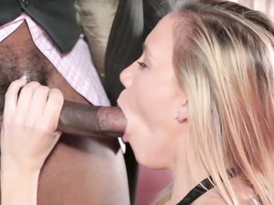 Cunt Of A Young Blonde Satisfies His Big Black Cock