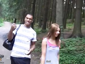 Threesome In The Woods With A Hot Teen Brunette