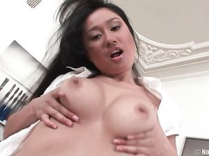 Bent Over Asian Lesbian Drilled By A Strapon