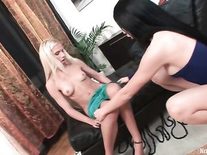 Smooth Ass Of A Brunette Lesbian Stretched By A Plug