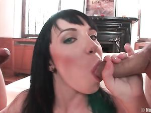 Tight And Pretty Teen Slut Sucking On Two Dicks