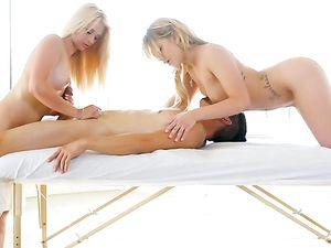 Blonde Massage Hotties Take On A Big Cock Together