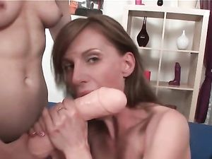 Short Hair Lesbian And Her GF Fucking Huge Strapons