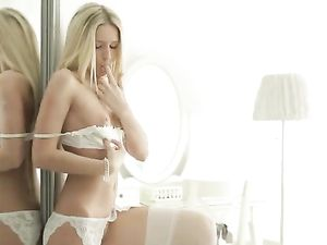 Dazzling Blonde In White Lingerie Makes Her Pussy Happy