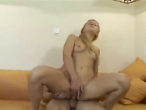 Blonde Teen On Her Back Taking Hard Dick Balls Deep