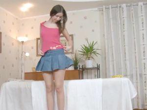 Tall Brunette Girl Undresses And Gets Massaged