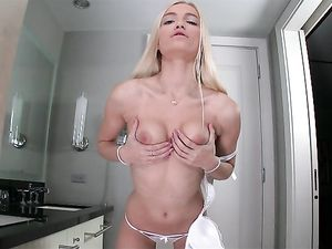Blonde Teens Blow Him Together In The Bathtub