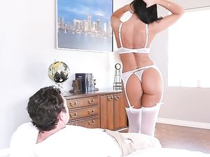 Perfect Body Babe In White Lingerie Needs His Cock