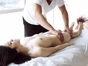 Slim Body Beauty Elena Dobrev Enjoys Massage And Cock