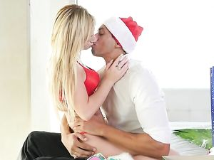 Blonde Wears Her Christmas Lingerie To Bang Her Boyfriend