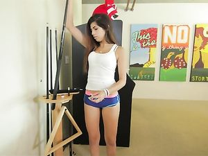 Cute Ava Taylor Boning All Over His Living Room