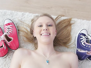 Innocent Looking Blonde Teen Sucks A Big Cock