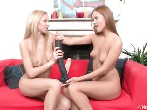 Lesbians And Their Huge Dildos Having Hot Fun