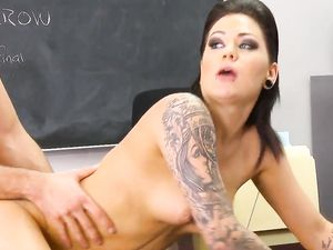 Slutty Tattooed Schoolgirl In A Skimpy Skirt Gets Fucked