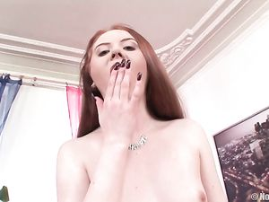 Redheaded Slut In Seamed Stockings Does A DP