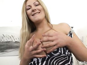 Slutty Dress On A Stripping Blonde With Sexy Curves