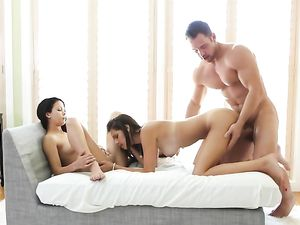 Big Cock For Two Sexy Brunette Chicks To Share