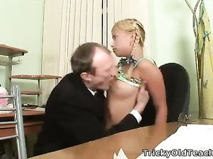 Dirty Old Man Sucks On Her Perky Teenage Tits